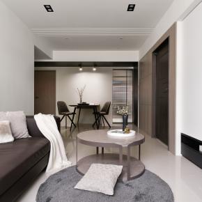 现代风装修效果图:25坪空间感现代居