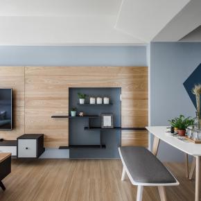 北欧风装修效果图:轻透蓝与原木交会的北欧宅